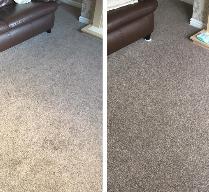 Another before & after shot of a pale berber carpet after cleaning by Little Duck Carpet Cleaning Services in a house in Dumfries.